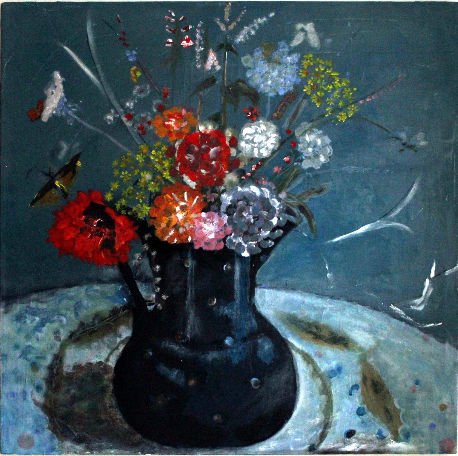 Blaue Kanne mit Feldblumen und Dahlien Acryl auf Leinwand Pinsel -- Spachtel Weiterverarbeitung mit Öl und Eitempera