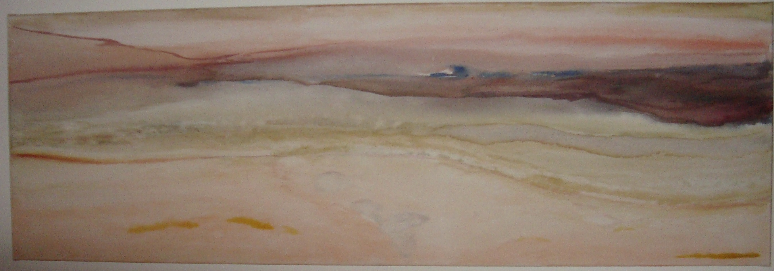 Blick über den Strand zum abendlichen Meer - Aquarell auf Leinwand 40 cm x 120 cm